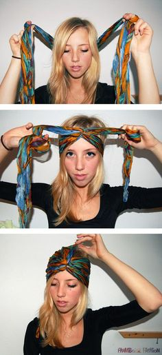 DIY Turban for Bike Friendly Hair you can do in a few easy steps! Great to get your hair out of the way yet look stylist when you take off your helmet. Scarf Hairstyles, Trendy Hairstyles, Beautiful Hairstyles, Curly Hairstyles, Gypsy Hairstyles, Festival Hairstyles, 2015 Hairstyles, Turban Tutorial, Head Scarf Tutorial