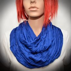 Royal Blue Silk scarf  Infinity scarf by Pixiesdance on Etsy, $19.00