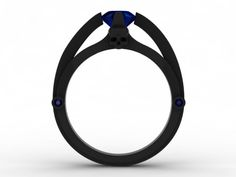 Skull Engagement Ring-Black Gold 6mm Round Blue Sapphire Center -UDINC0321 by UntilDeathInc.com