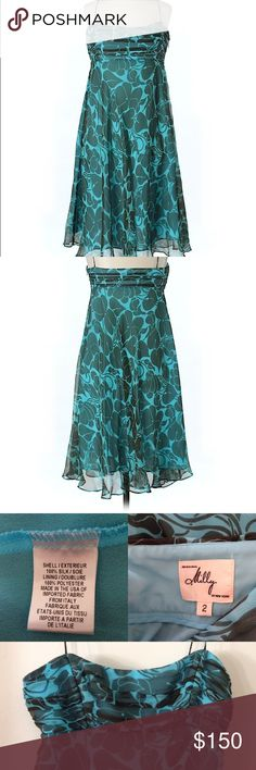 Milly of New York Teal Aqua Dress - Silk Floral Milly New York Teal Blue Dress. Thin Straps, Flowy Dress - Knee Length. Side concealed zipper. Excellent Condition - no Flaws. #08241605  (Shoes not included - Listed Separately for Purchase) Milly Dresses