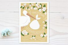 The Baby And The Stork Baby Shower Invitations by Ana de Sousa at minted.com