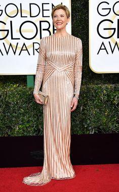 Annette Bening Dress: Pamella Roland Golden Globes 2017 Dresses, Golden Globe Awards 2017, Glam Dresses, Red Carpet Dresses, Dress Outfits, Isabelle Huppert, Grammy Fashion, Fashion 2017, Fashion Weeks