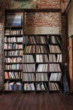 Trendy Home Library Modern Exposed Brick 64 Ideas Vinyl Storage, Record Storage, Record Shelf, Lp Storage, Book Storage, Cd Shelf, Vinyl Shelf, Record Stand, Record Art
