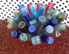 Enjoy exclusive for Awesome Blossom Southern Bottle tree - 49 Bottles -Garden Yard Wine Stake ~ Celebrate beauty colored glass garden yard southern charm~ FREE SHIP ~ (lower online - Selecttopseller Glass Garden Art, Bottle Garden, Diy Bottle, Wine Bottle Crafts, Bottle Art, Glass Art, Beer Bottles, Glass Bottles, Bottle Torch