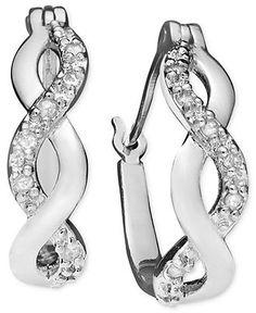 Diamond Earrings, Sterling Silver Diamond Infinity Hoop (1/10 ct. t.w.)