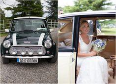 mini car wedding black white