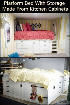 This Platform Bed With Storage is Made From Kitchen Cabinets! This Platform Bed With Storage is Made From Kitchen Cabinets! Platform Bed With Storage, Bed Platform, Raised Platform Bed, Kitchen Furniture, Bedroom Furniture, Kitchen Decor, Primitive Furniture, Furniture Layout, Kitchen Ideas
