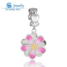 New Arrival 925 Sterling Silver Love Enamel Pendant Flower Charm Lot Wholesale Gw Fine Jewellery S357H20