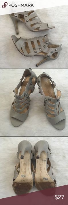 """Studded Heels Strappy Heeled Sandals with silver studs. Leather upper. 4"""" heel. I got some use out of these (so bottoms look """"used"""") but overall they are still in great condition. Boutique Shoes Heels"""