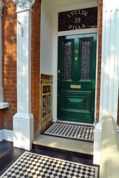 Decorative Front Step and Porch Tiles Mention tiling and most people's minds turn to bathrooms or kitchens. These are the rooms that we have designated as the place to demonstrate our passion for grouting and the plethora of decorative or Victorian Front Garden, Victorian Front Doors, Victorian Porch, Victorian Tiles, Edwardian House, Victorian Terrace Interior, Edwardian Style, Front Door Steps, Front Door Porch