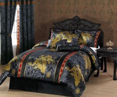 Chezmoi Collection Palace Dragon Jacquard Comforter Set, Queen, Black/Gold/Red: This is a beautiful traditional Asian comforter design. Jacquard gold dragon and floral will enhance your bedroom. Vintage Clip, Bedroom Furniture Sets, Bedroom Sets, Bedroom Decor, Gold Bedroom, Master Bedrooms, Red Comforter Sets, Gold Comforter, Oriental Bedroom