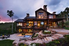 """the """"Chimney Bells Residence"""", a contemporary mountain retreat located in Avon, Colorado. This custom built two-story dwelling was designed by Berglund Architects in collaboration with Vail Custom Builders."""
