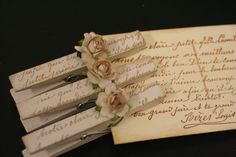 Decorative Cloths Pins, Set of 10, Love Notes From Paris, French Script, Ribbon Board, Vintage, Shabby Chic, Home Decor. $7.00, via Etsy. Lay them on their sides to hold up name place cards?
