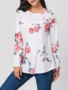 Long Sleeve Floral Print Top - White - 2xl