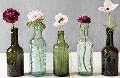 Decor / Green Bottles & Flowers