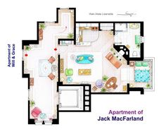 """""""Will and Grace"""" Floor Plan. Residence of Jack MacFarland. Jack, Will's best friend, had an expansive apartment by New York standards."""