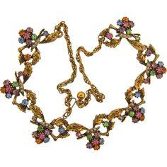 Vintage colorful floral rhinestone choker Necklace @rubylanecom #RhinestoneJewelry  #rubylane