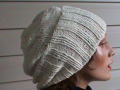 Slouchy beanie  knit white hat Oversized  by MyBeautifulLifeShop