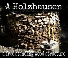 A free standing wood stacking method; helps wood to dry quicker & prevents wood from sitting in water.  afarmgirlinthemaking