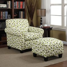 This Mira arm chair and ottoman set, featuring a bold apple green and cream upholstery, is sure to be the focal point of your room. It is also built for comfort with its transitional design, rounded arms, and ample cushioning to cradle you.