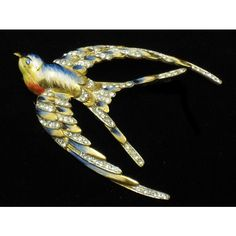 CORO CRAFT Sterling Enamel Pave Swallow Bird Figural Pin Brooch 1943 ❤ liked on Polyvore featuring jewelry and brooches