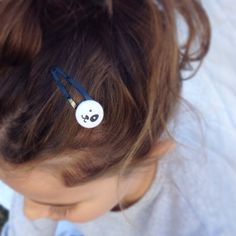 Toddler Girls Hair Clips Black and White Puppy by SmallTalkShop