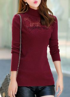 Burgundy Fitted Turtleneck Long Sleeve Pullover Sweater with Lace Panel