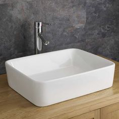 Balzano 480mm x 380mm White Ceramic Large Rectangular Counter Mounted Bathroom Sink