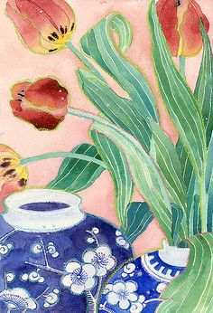 Still life with vases and tulips | by Gabby Malpas My favorite flower......tulips!