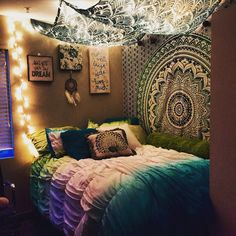 College apartment bedroom #stringlights #tapestry