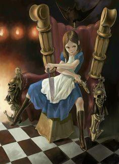 Alice in a chair with gun and knife
