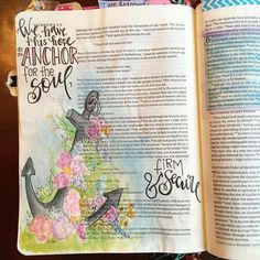 Hebrews 6:19 we have this hope as an anchor for our soul, firm and secure. #illustratedfaith #imprintedheart #biblejournalingcommunity #bibleartjournaling #biblejournaling #shepaintstruth #vintage #anchor