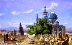 "Jean-Léon Gérôme (1824-1904) Cemetery Gone to Seed (The Green Mosque) painting for the sake of painting was like speaking for the sake of talking :  to paint well,"" said he, ""one must have something to say"