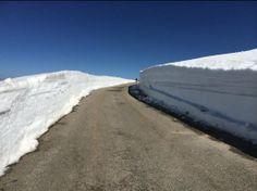 De noordkant van de top van de Mont Ventoux met sneeuwwanden op 19 april 2014. Foto: Peter Oeberius Kapteijn.