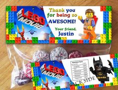 Lego Movie birthday treat topper ~ Personalized ~  Digital download ~ goody bag ~ Thank you on Etsy, $5.99