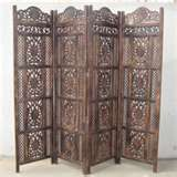 Exotic Hand Carved Wood Room Divider Screens,