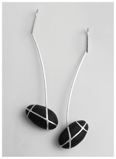 OVAL BLACK STONE silver earings by PolinaDimitrova on Etsy, €45.00