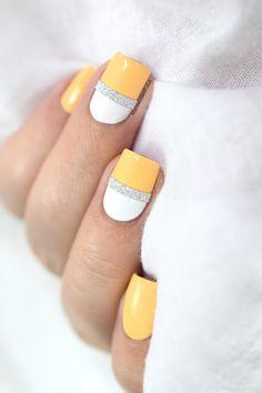 Marine Loves Polish: Yellow & Bling - glitter striping tape- color block nail art