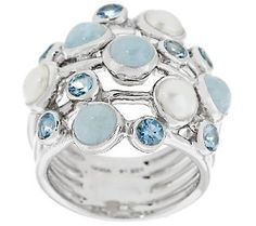 March and June birthstones look pretty good together! Cultured Pearl & Aquamarine Sterling Multi-row Ring