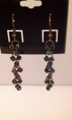 Antique finish earring with seed beads