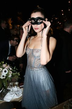 Bella Hadid in Dior at the Christian Dior Haute Couture Spring Summer 2017 Bal Masqué during Paris Fashion Week in Paris, France, January 2017. Getty Images for Dior