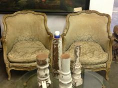 Pair of 1800's Children's Bergere Chairs   Down Cushions Horsehair  $695 Pair  Paul Ashby at Lucas Stre...   SOLD