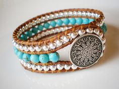 Beaded Leather Cuff Turquoise Silvertone Black Filigree Button. $48.00, via Etsy.
