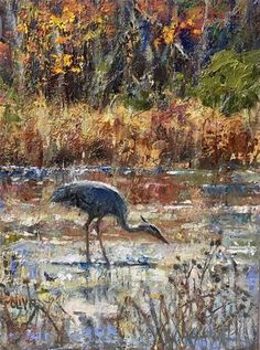 "Daily Paintworks - ""Great Blue Heron"" - Original Fine Art for Sale - © Julie Ford Oliver"