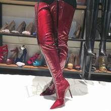 Stivali Alti Donna Alti spessi Autunno inverno delle donne Giallo Nero Verde Viola Rosa Rosso pelle verniciata lunghi stivali femminile sopra al