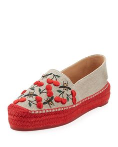 Kenda Cherry-Embroidered Espadrille Flat