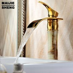 62.69$  Watch here - http://ali20e.worldwells.pw/go.php?t=32248717024 - Bathroom bowlder faucet jade tap ceramic waterfall sink mixer tap single handle basin tap SD-H-003A 62.69$