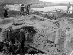 Excavation of Skara Brae on Orkney Island.