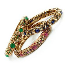 A Set of Three Multi-Gem and Gold Indo-style Bangle Bracelets, Van Cleef & Arpels, Circa 1960