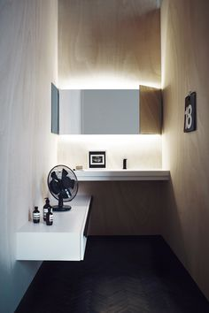 """soft plywood bathroom pictures by Studio Pepe. Posted by Cocolapine _ // _ You can buy Agape goods from the web by the """"AgapeStore_ www. Minimalist Bathroom, Modern Bathroom, Small Bathroom, Modern Minimalist, Bad Inspiration, Bathroom Inspiration, Home Goods Decor, White Sink, Bathroom Toilets"""